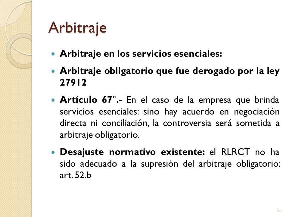 Arbitraje Arbitraje en los servicios esenciales: