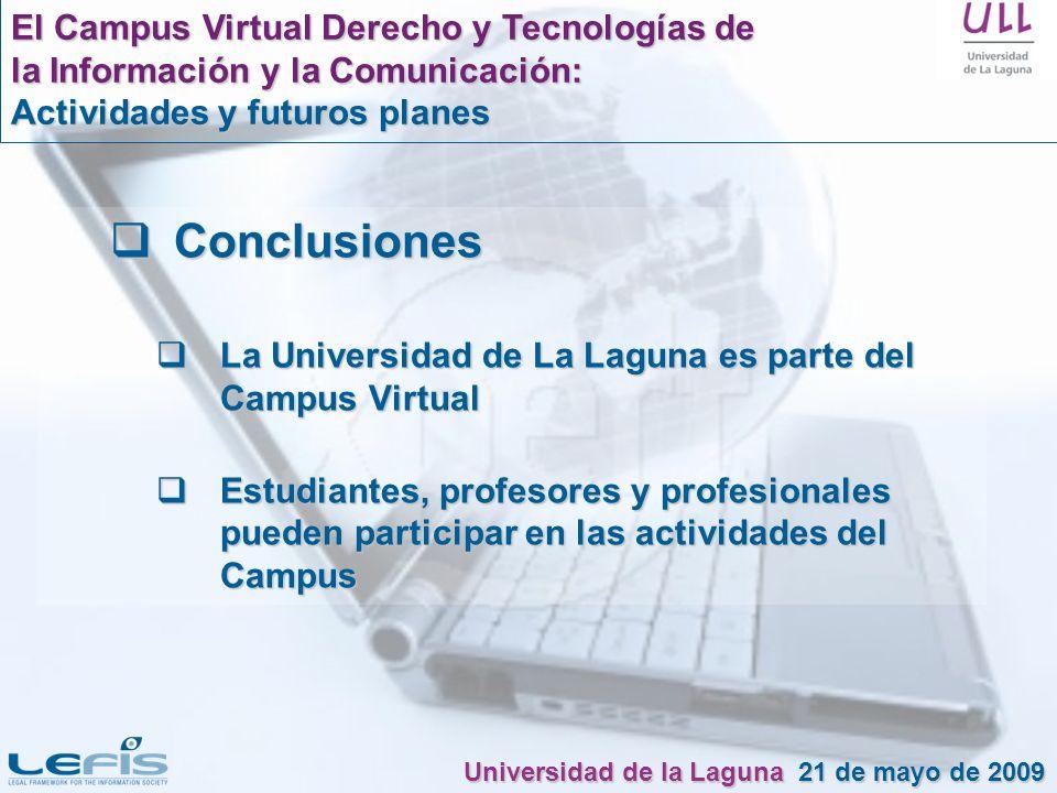Conclusiones El Campus Virtual Derecho y Tecnologías de