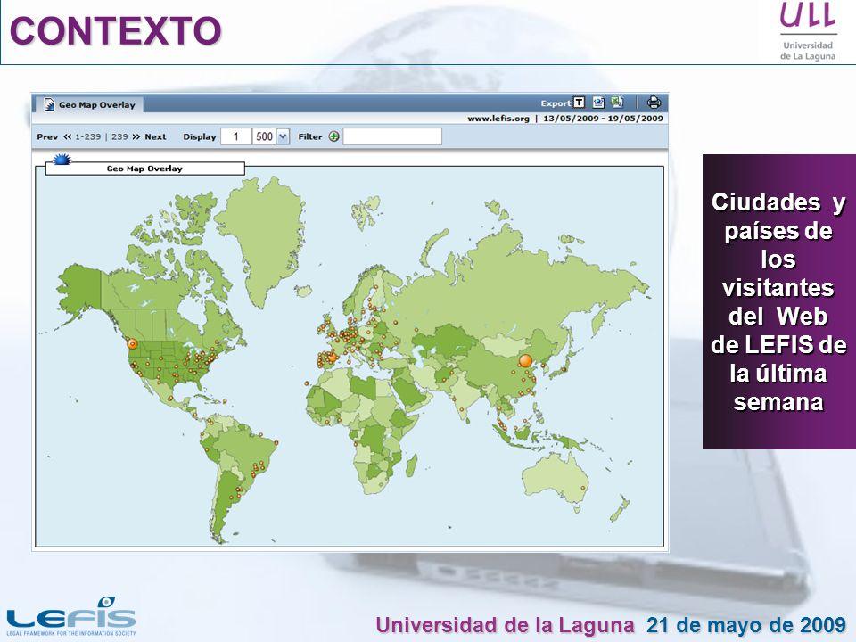CONTEXTO Ciudades y países de los visitantes del Web de LEFIS de la última semana.