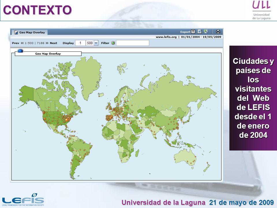 CONTEXTOCiudades y países de los visitantes del Web de LEFIS desde el 1 de enero de 2004.