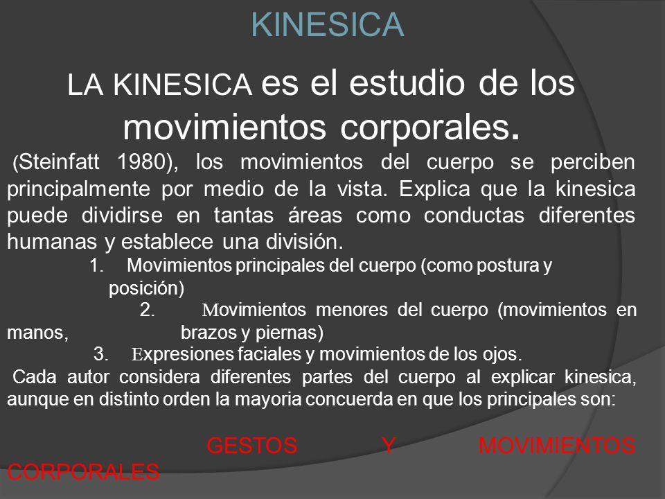 LA KINESICA es el estudio de los movimientos corporales.