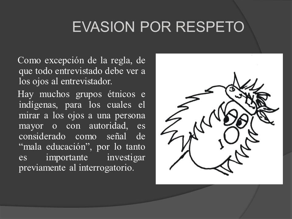 EVASION POR RESPETO Como excepción de la regla, de que todo entrevistado debe ver a los ojos al entrevistador.