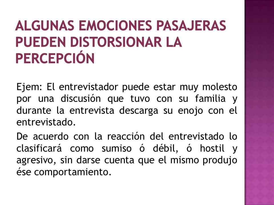 Ejem: El entrevistador puede estar muy molesto por una discusión que tuvo con su familia y durante la entrevista descarga su enojo con el entrevistado.
