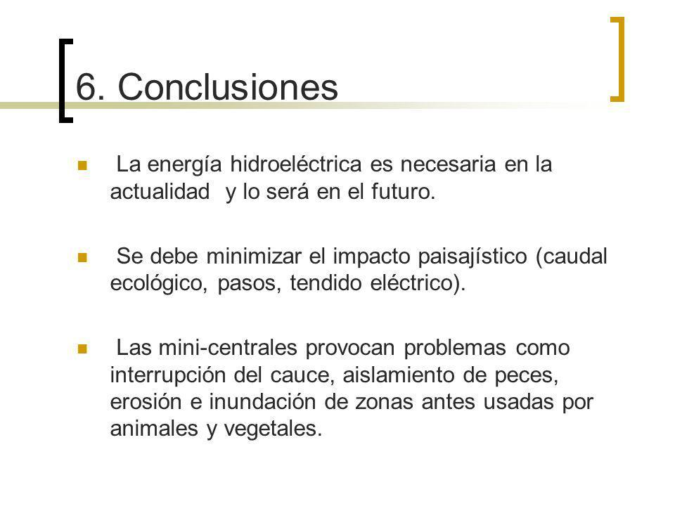 6. Conclusiones La energía hidroeléctrica es necesaria en la actualidad y lo será en el futuro.