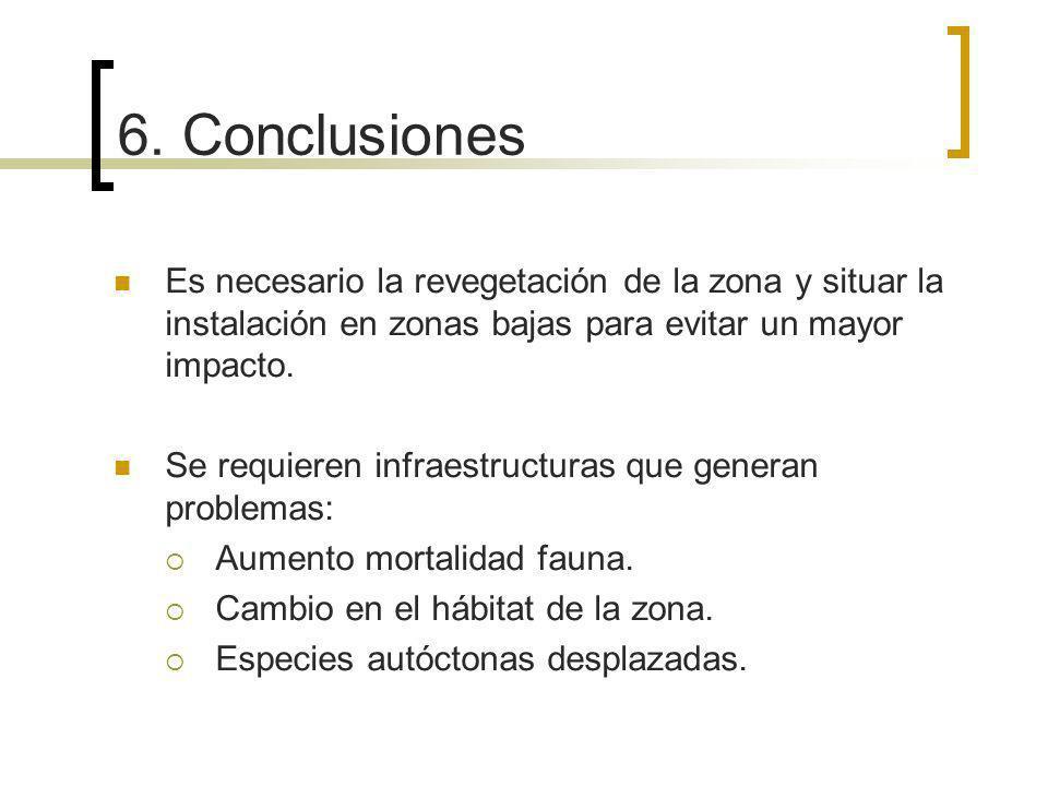 6. Conclusiones Es necesario la revegetación de la zona y situar la instalación en zonas bajas para evitar un mayor impacto.