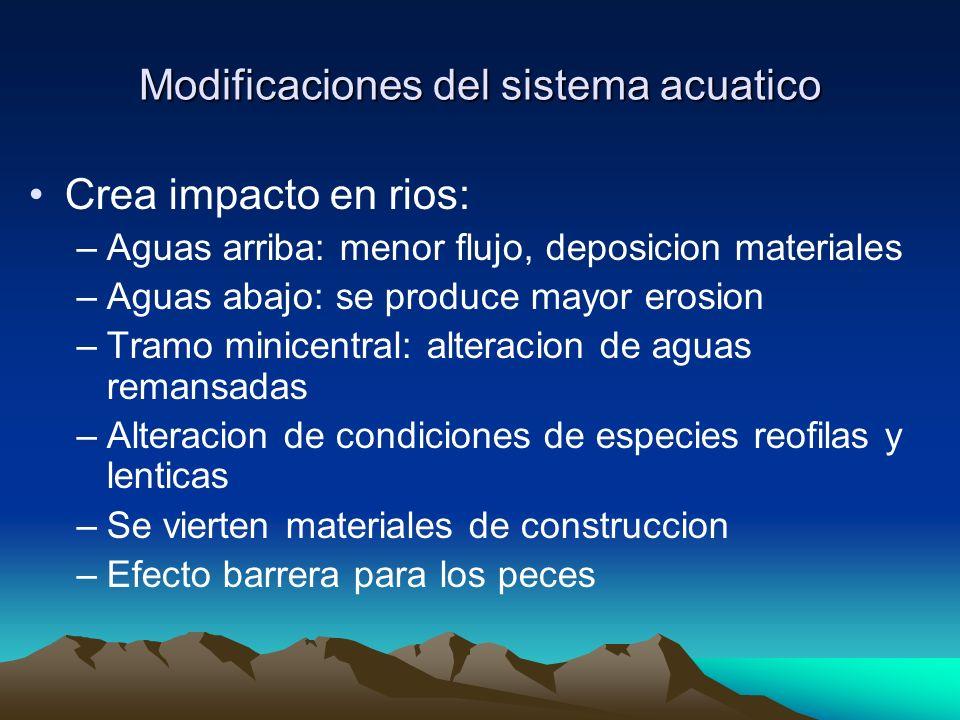 Modificaciones del sistema acuatico