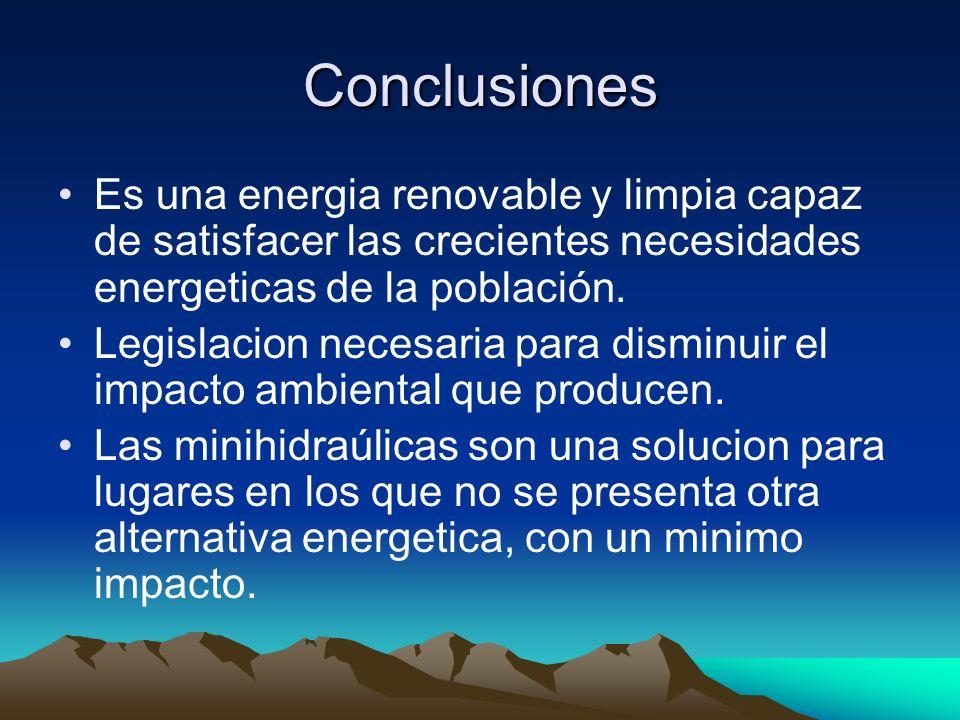 Conclusiones Es una energia renovable y limpia capaz de satisfacer las crecientes necesidades energeticas de la población.