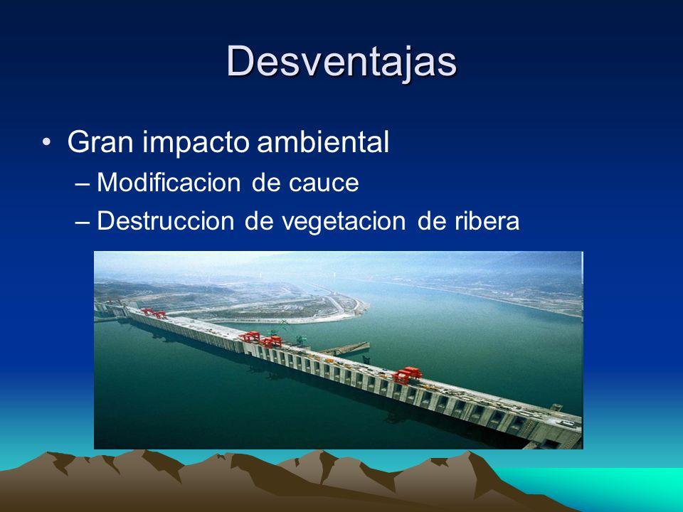 Desventajas Gran impacto ambiental Modificacion de cauce