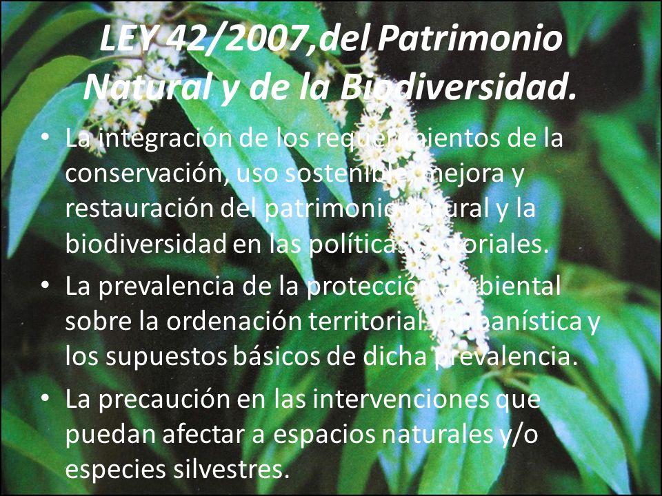 LEY 42/2007,del Patrimonio Natural y de la Biodiversidad.