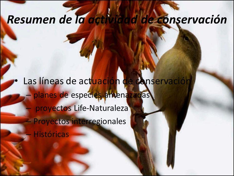 Resumen de la actividad de conservación
