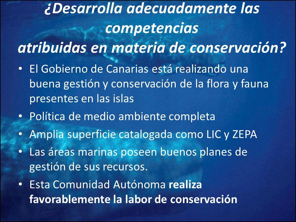 ¿Desarrolla adecuadamente las competencias atribuidas en materia de conservación