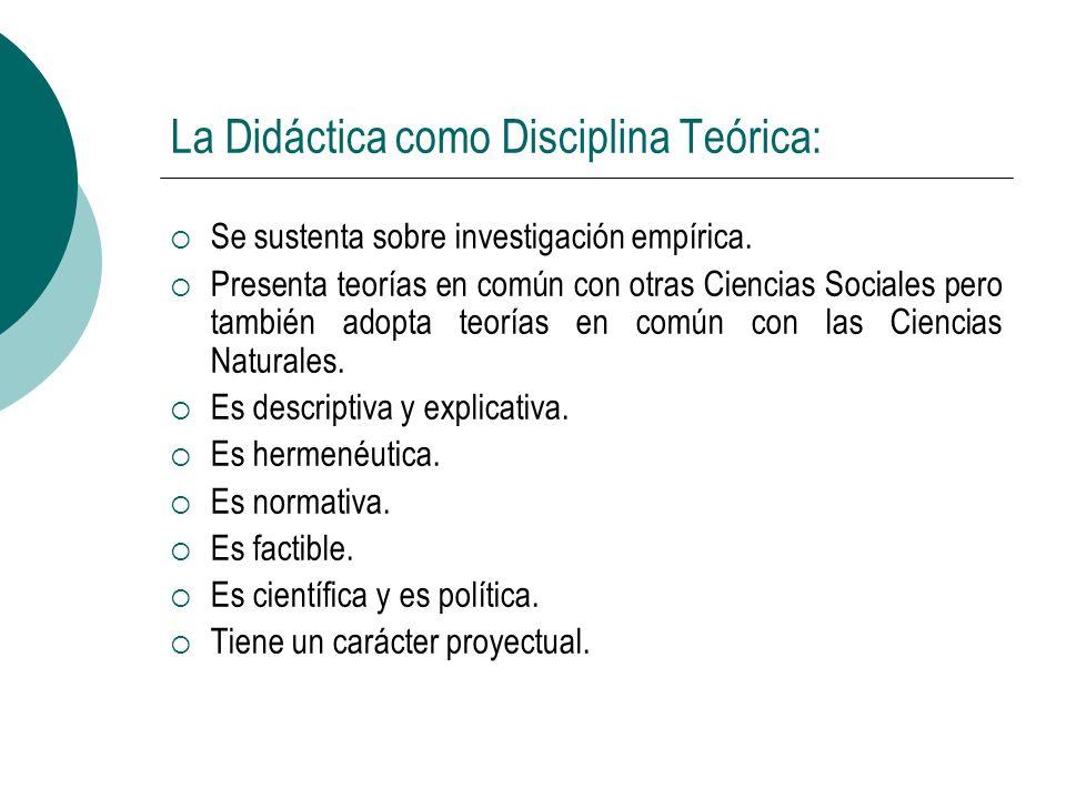 La Didáctica como Disciplina Teórica: