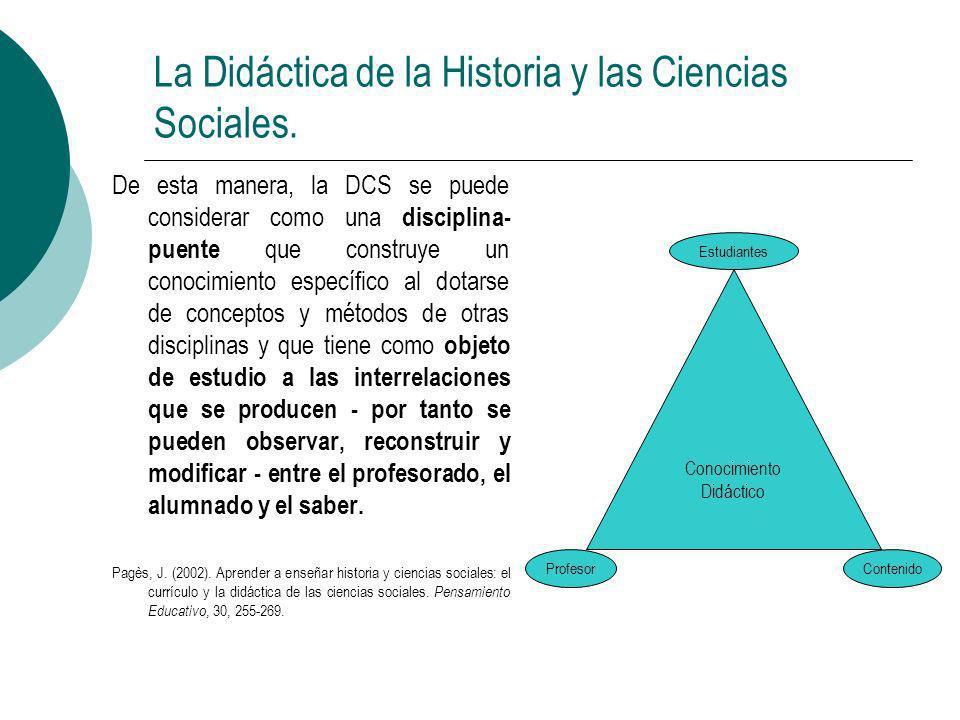 La Didáctica de la Historia y las Ciencias Sociales.