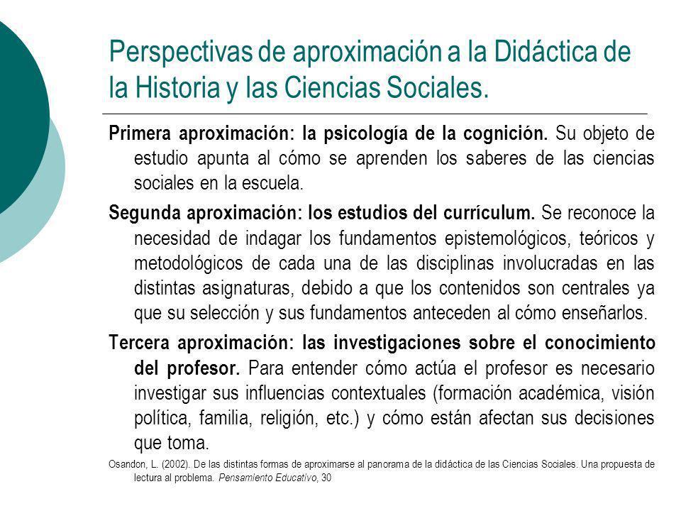 Perspectivas de aproximación a la Didáctica de la Historia y las Ciencias Sociales.