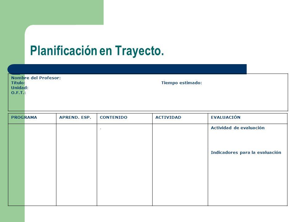 Planificación en Trayecto.