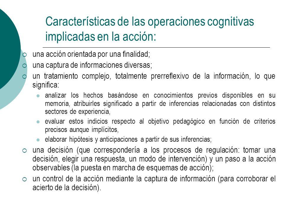 Características de las operaciones cognitivas implicadas en la acción: