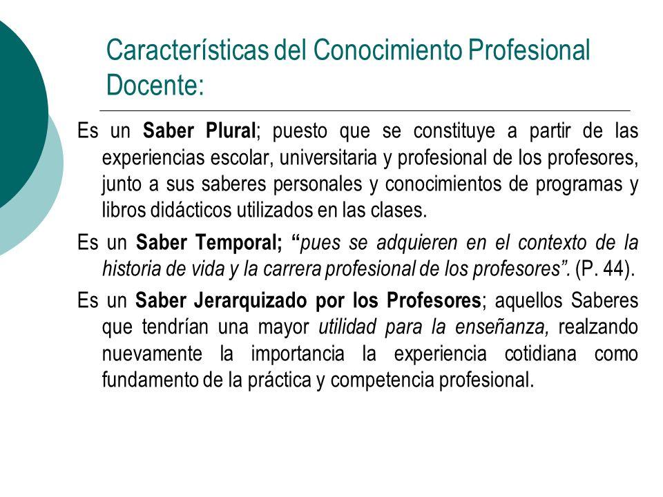Características del Conocimiento Profesional Docente: