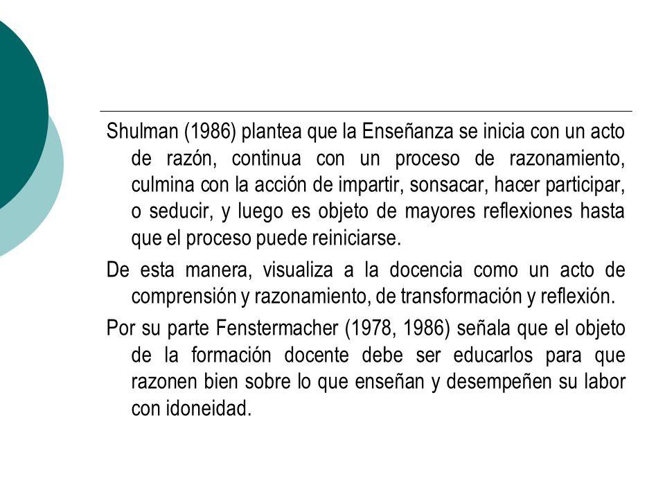 Shulman (1986) plantea que la Enseñanza se inicia con un acto de razón, continua con un proceso de razonamiento, culmina con la acción de impartir, sonsacar, hacer participar, o seducir, y luego es objeto de mayores reflexiones hasta que el proceso puede reiniciarse.