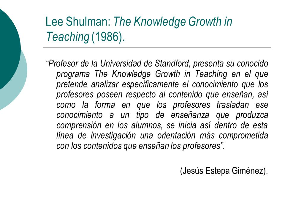 Lee Shulman: The Knowledge Growth in Teaching (1986).