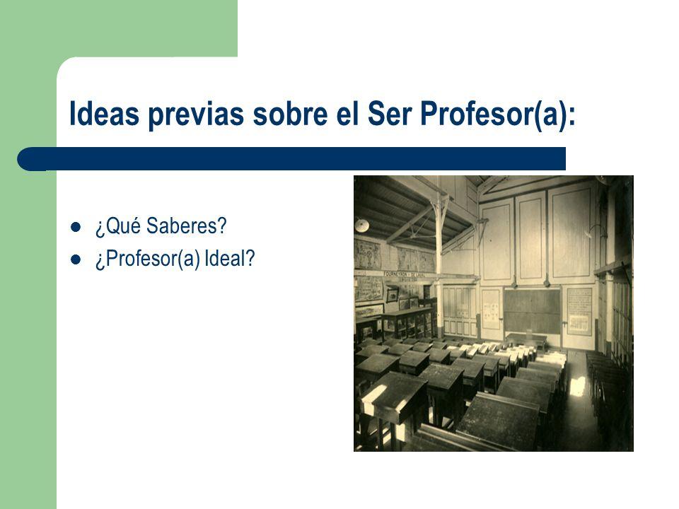 Ideas previas sobre el Ser Profesor(a):