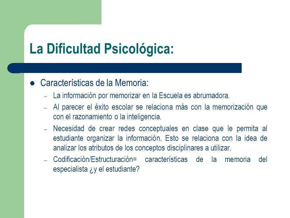La Dificultad Psicológica: