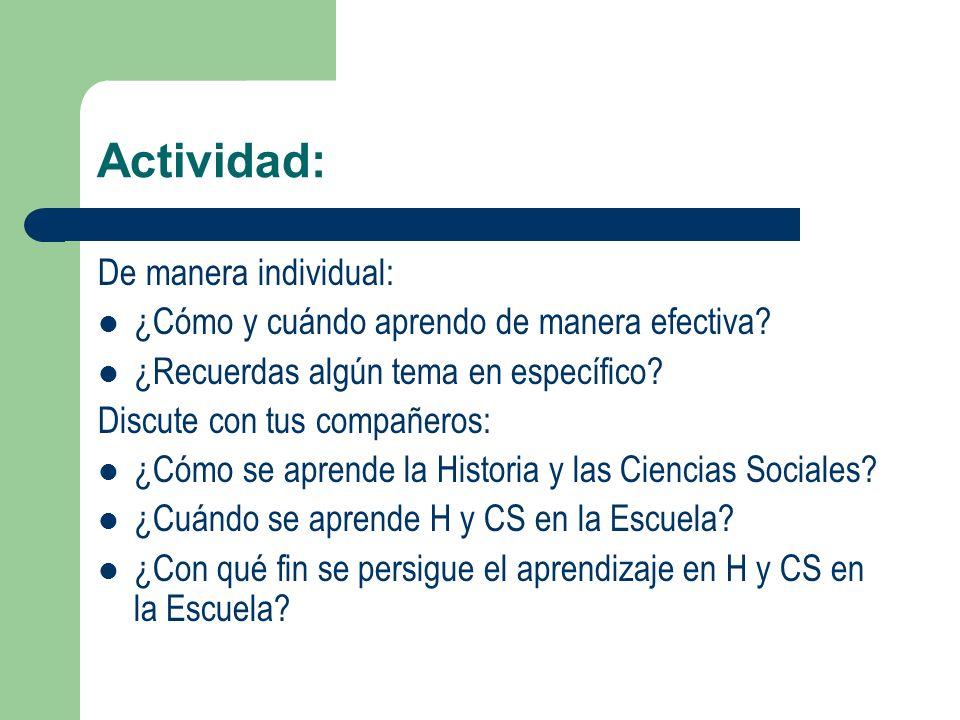 Actividad: De manera individual: