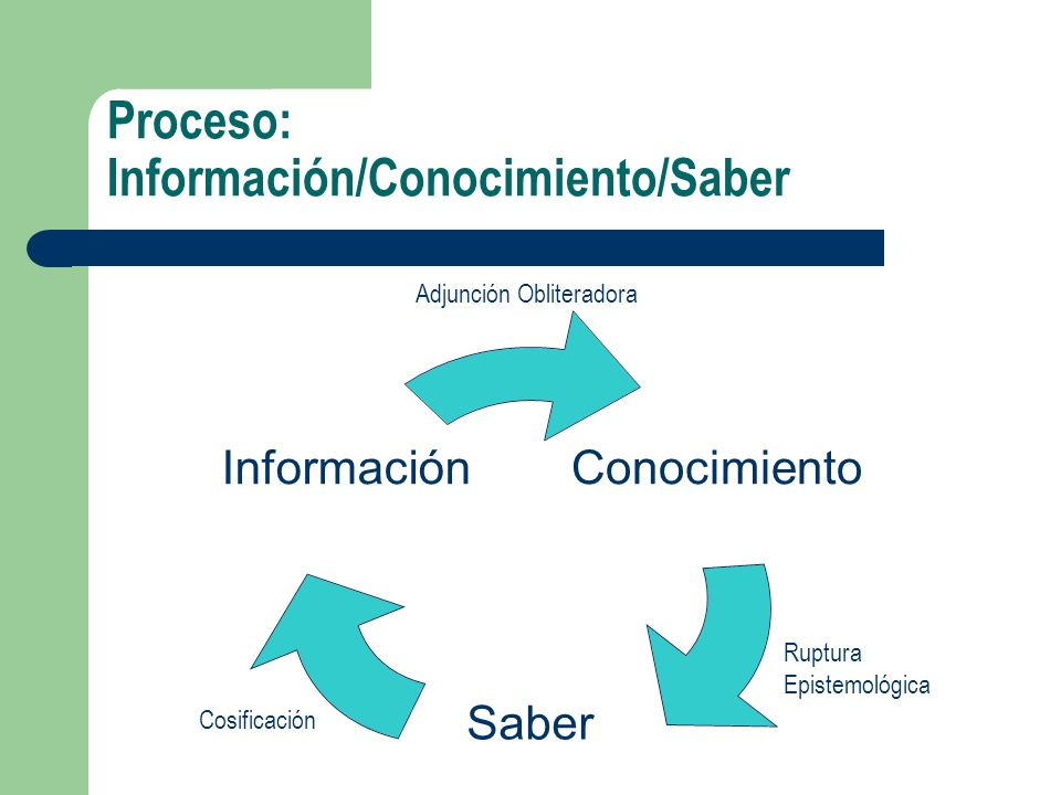 Proceso: Información/Conocimiento/Saber