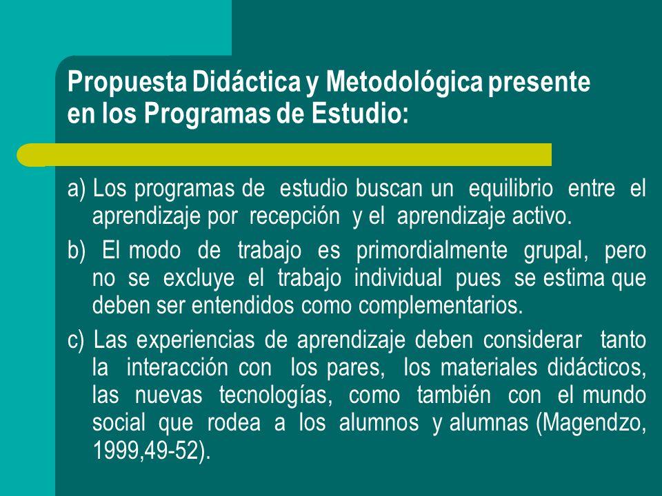 Propuesta Didáctica y Metodológica presente en los Programas de Estudio: