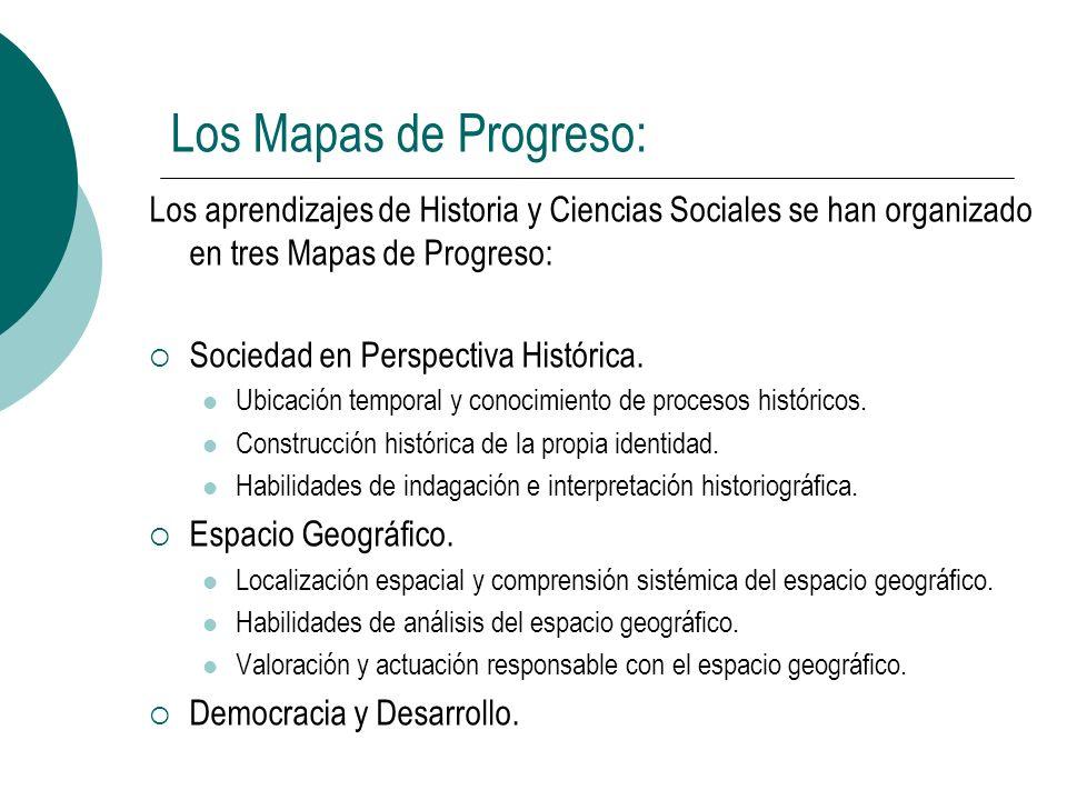 Los Mapas de Progreso:Los aprendizajes de Historia y Ciencias Sociales se han organizado en tres Mapas de Progreso: