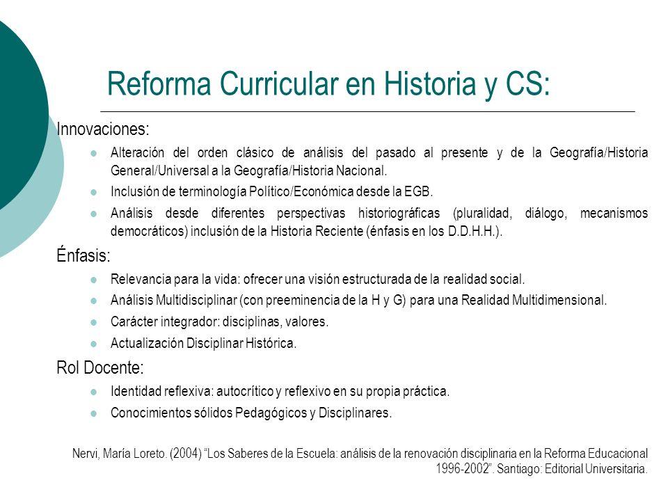 Reforma Curricular en Historia y CS: