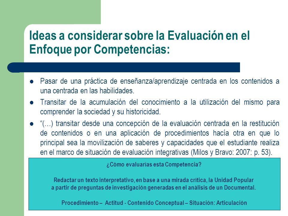 Ideas a considerar sobre la Evaluación en el Enfoque por Competencias:
