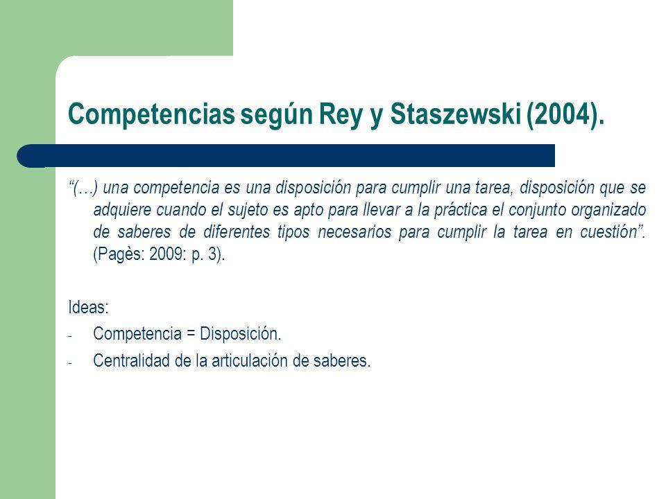 Competencias según Rey y Staszewski (2004).