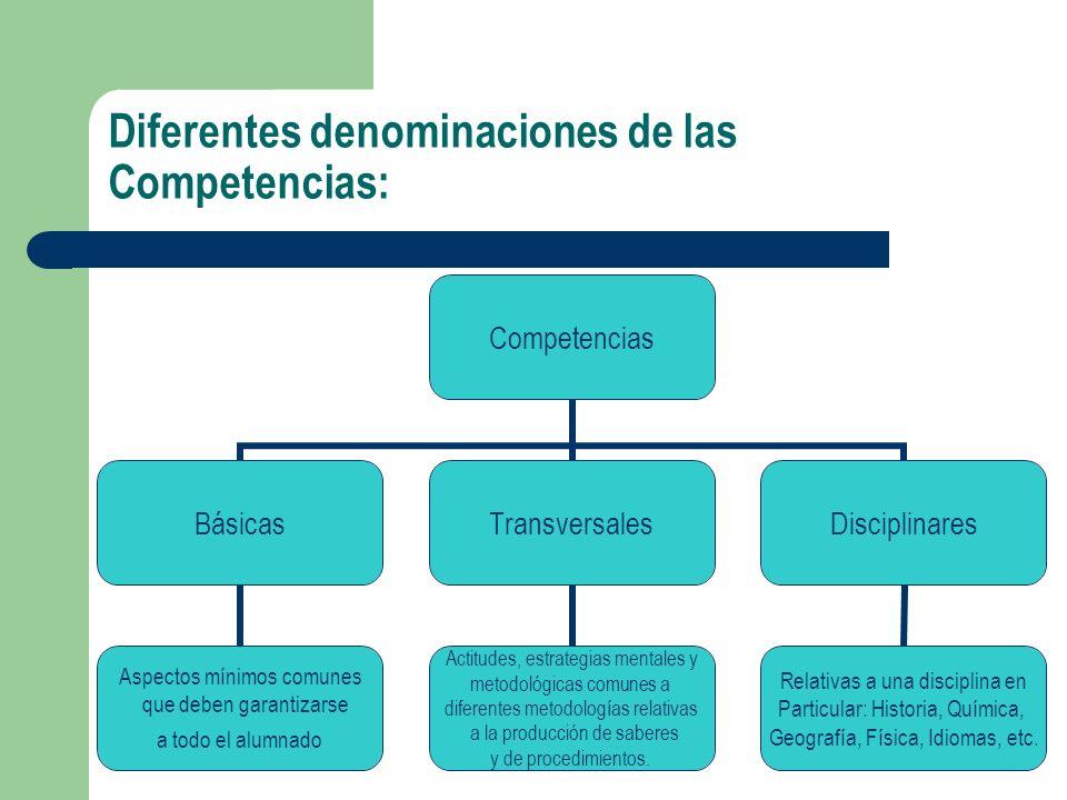 Diferentes denominaciones de las Competencias: