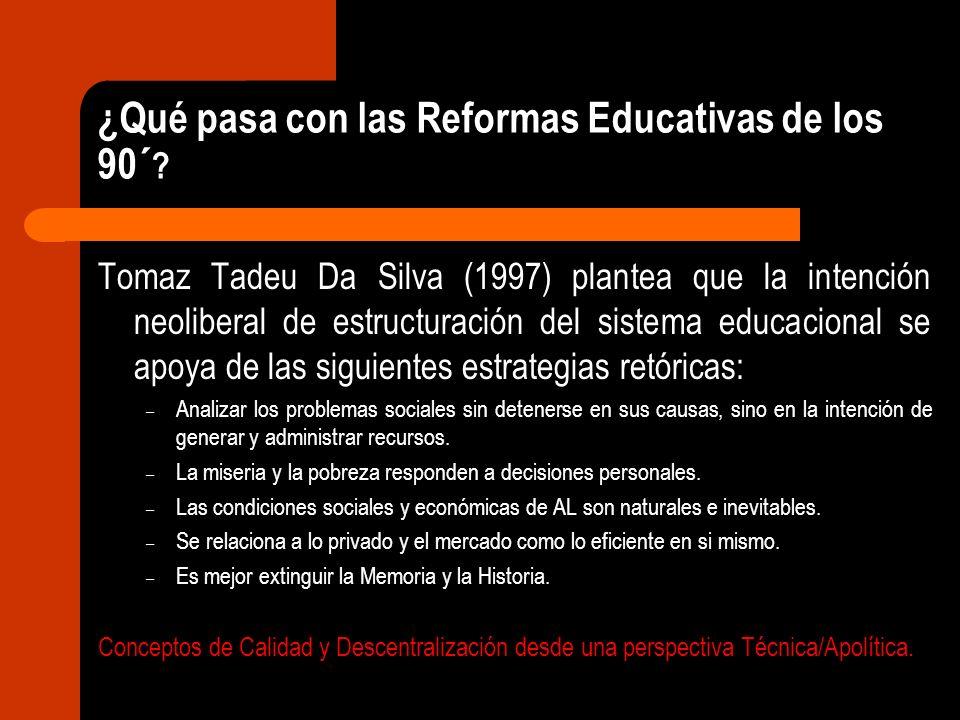 ¿Qué pasa con las Reformas Educativas de los 90´