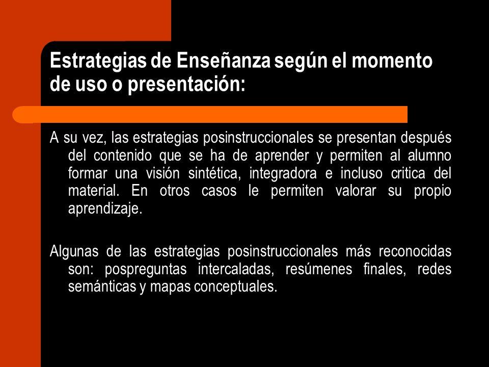 Estrategias de Enseñanza según el momento de uso o presentación: