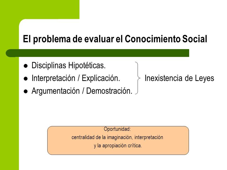 El problema de evaluar el Conocimiento Social