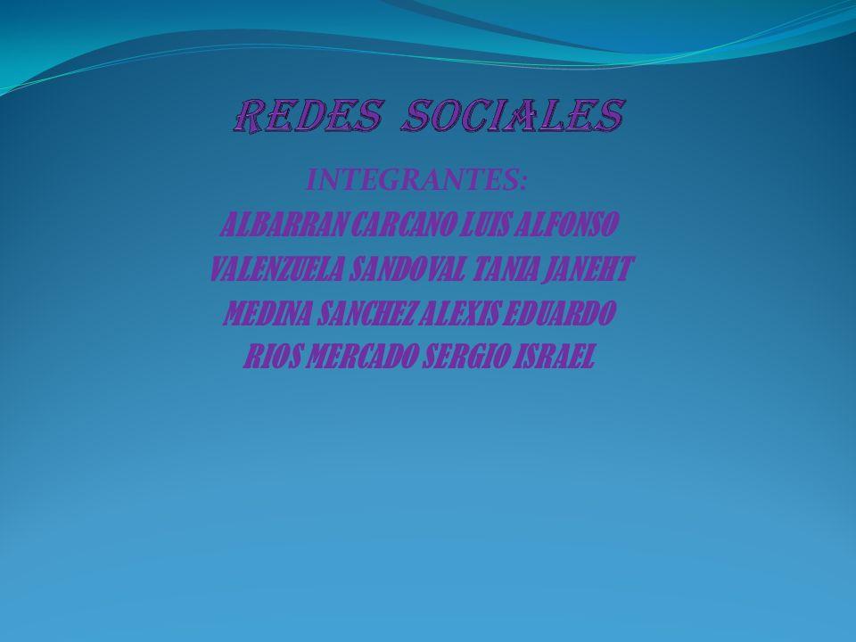 REDES SOCIALES INTEGRANTES: ALBARRAN CARCANO LUIS ALFONSO