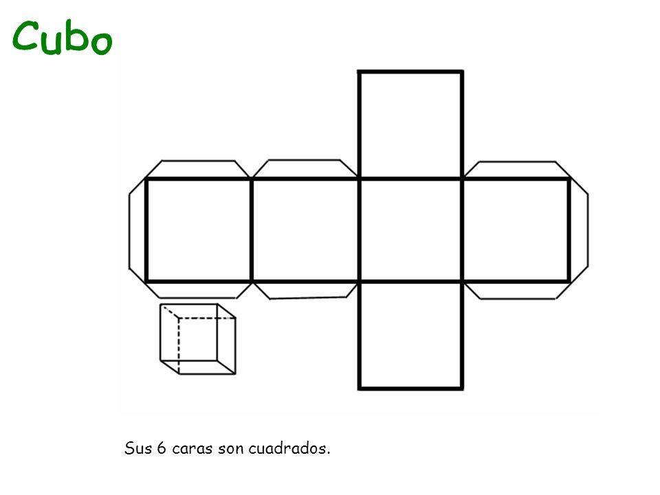 Cubo Sus 6 caras son cuadrados.