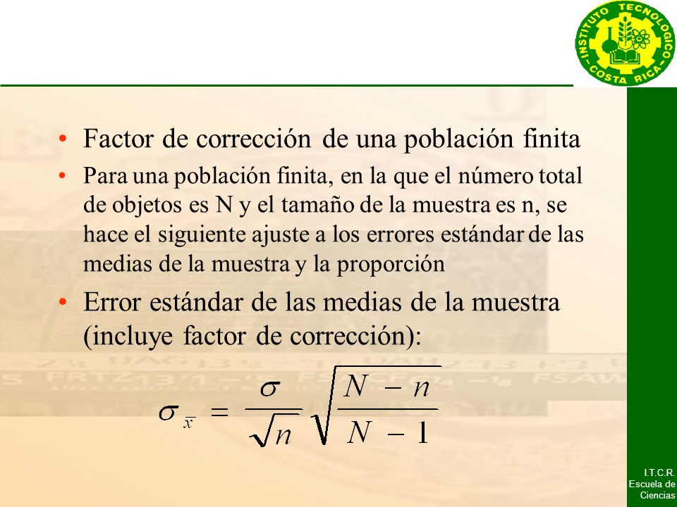 Factor de corrección de una población finita