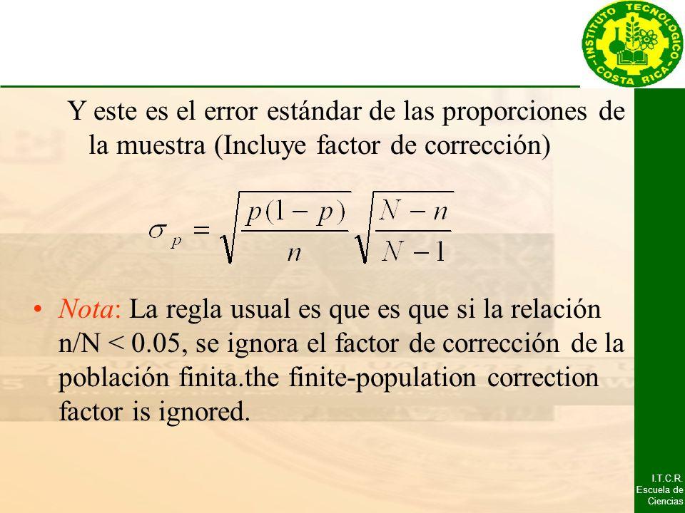Y este es el error estándar de las proporciones de la muestra (Incluye factor de corrección)
