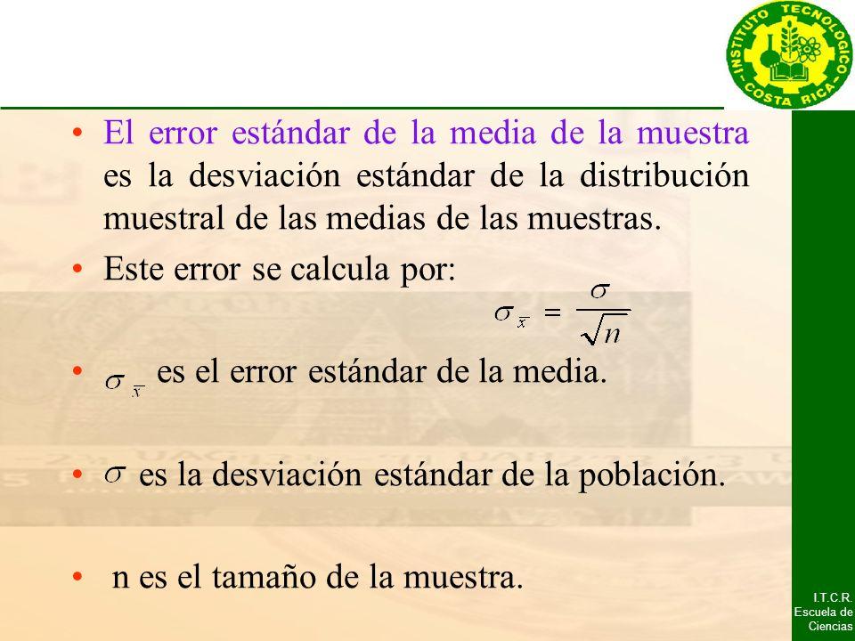 El error estándar de la media de la muestra es la desviación estándar de la distribución muestral de las medias de las muestras.