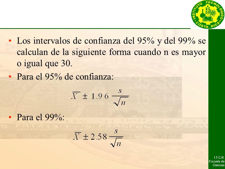 Los intervalos de confianza del 95% y del 99% se calculan de la siguiente forma cuando n es mayor o igual que 30.