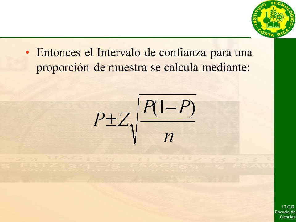 Entonces el Intervalo de confianza para una proporción de muestra se calcula mediante: