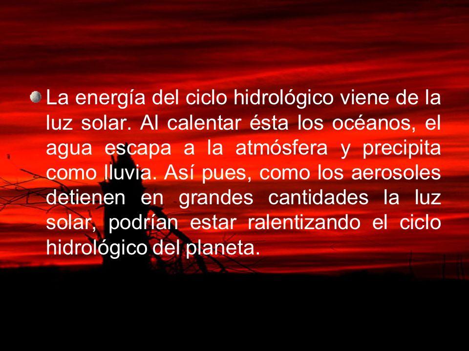 La energía del ciclo hidrológico viene de la luz solar