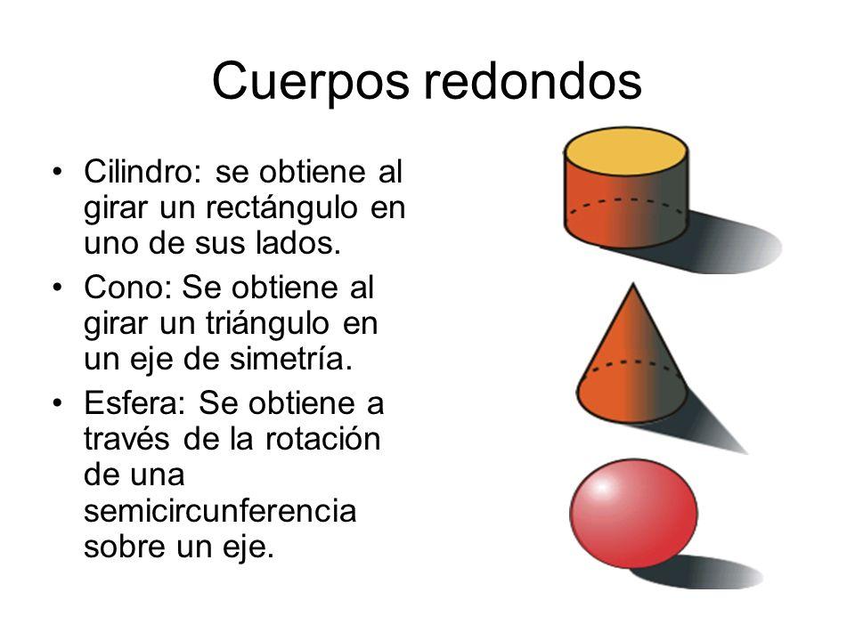 Cuerpos redondos Cilindro: se obtiene al girar un rectángulo en uno de sus lados. Cono: Se obtiene al girar un triángulo en un eje de simetría.