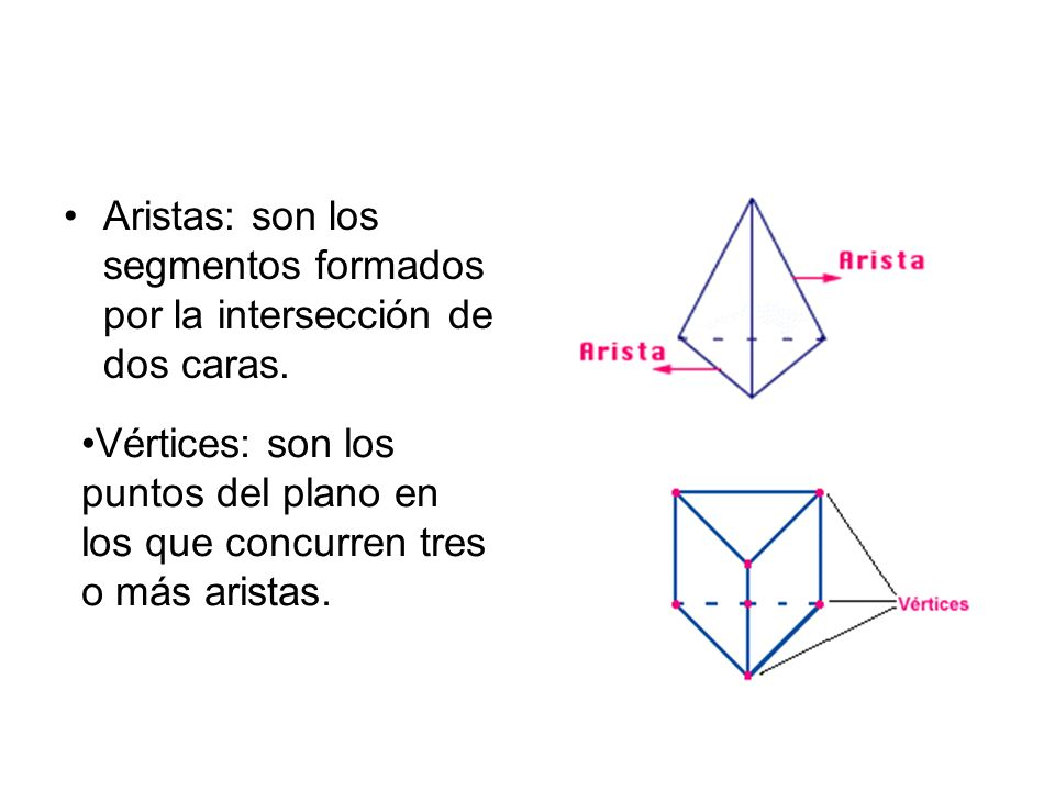 Aristas: son los segmentos formados por la intersección de dos caras.