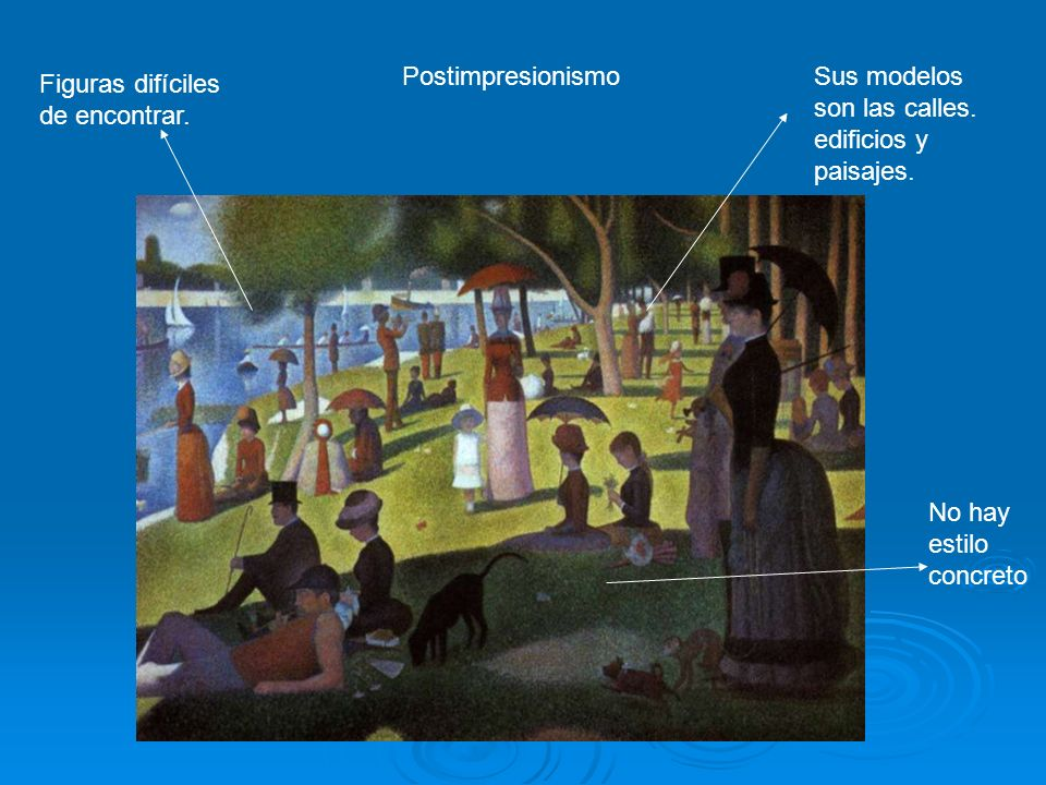 Postimpresionismo Sus modelos son las calles. edificios y paisajes. Figuras difíciles de encontrar.