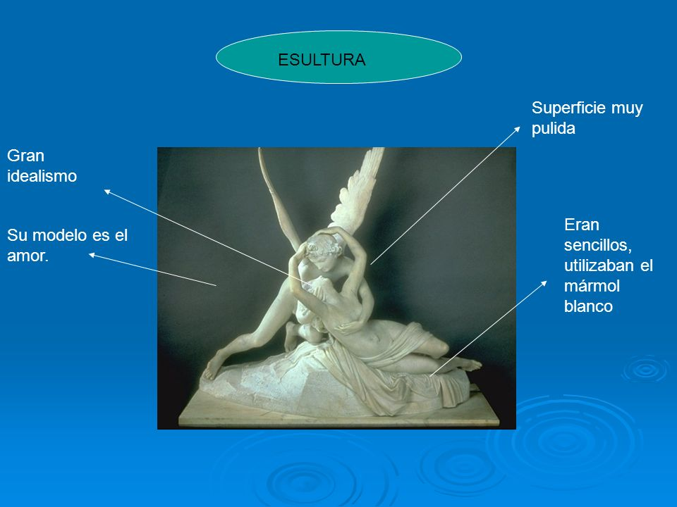 ESULTURA Superficie muy pulida. Gran idealismo. Eran sencillos, utilizaban el mármol blanco.