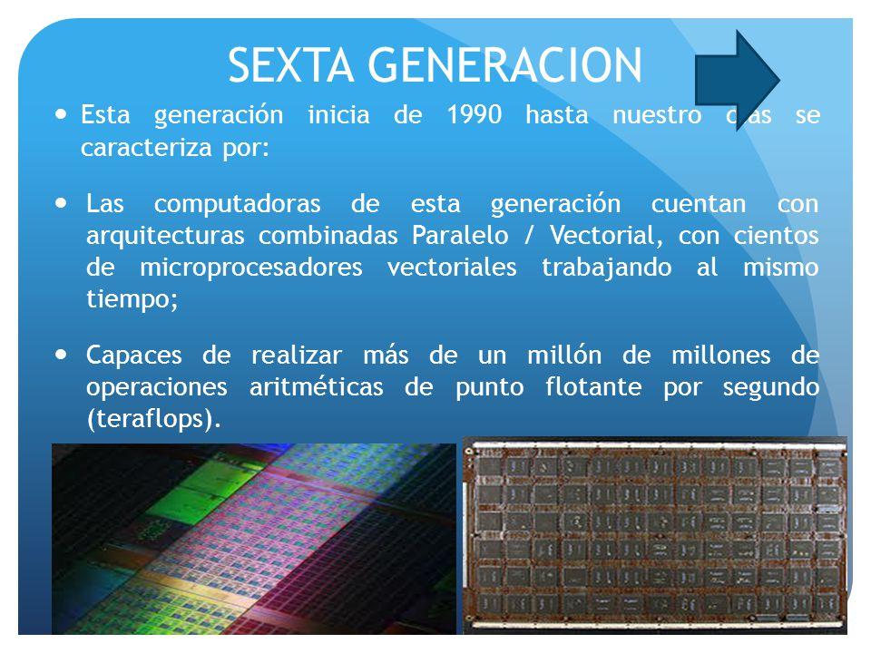 SEXTA GENERACION Esta generación inicia de 1990 hasta nuestro días se caracteriza por: