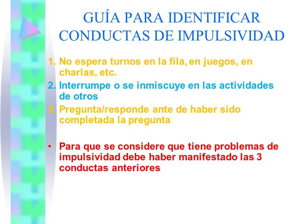 GUÍA PARA IDENTIFICAR CONDUCTAS DE IMPULSIVIDAD